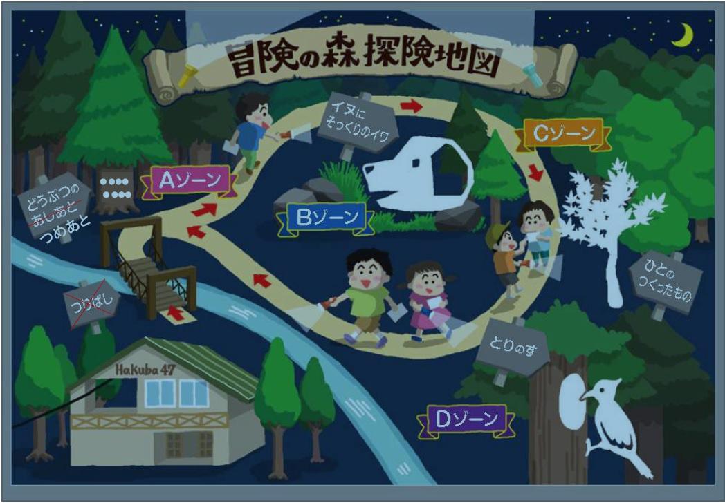 スキー場夏企画 探検地図